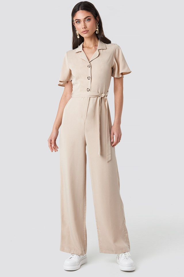 Carmen Binding Detailed Jumpsuit Stone