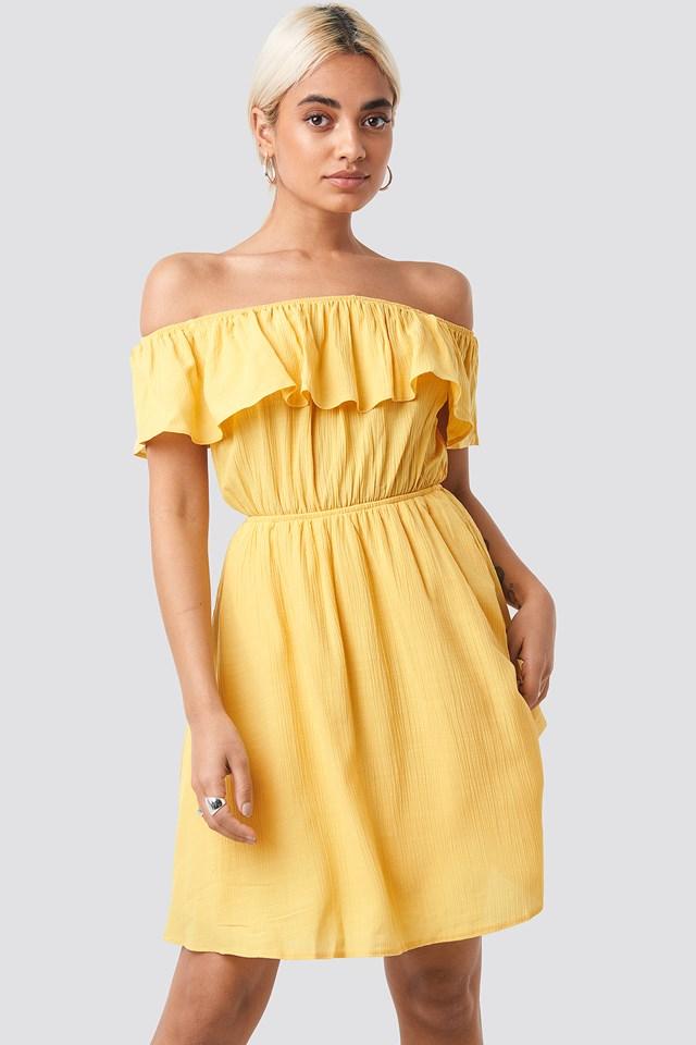 Carmen Off Shoulder Dress Yellow