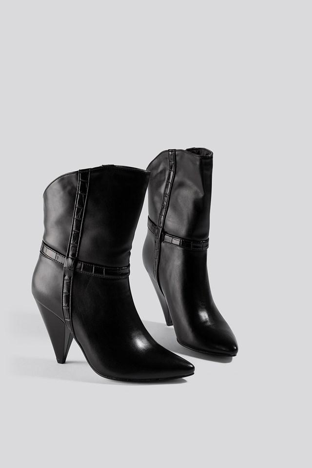 Cone Heel Boots Black
