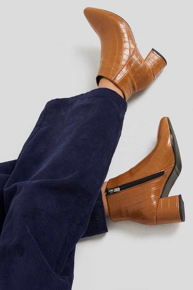 Croco Ankle Boots Tobacco