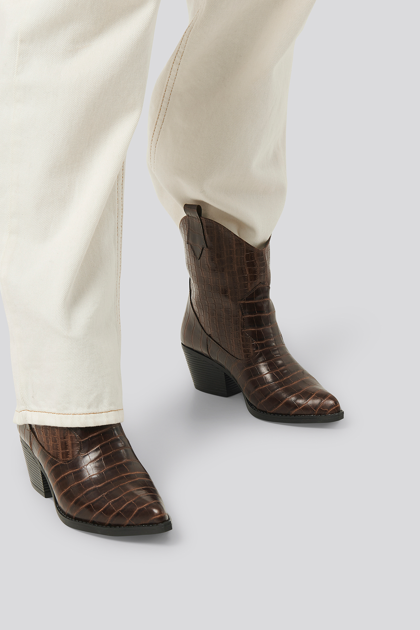 Brown Croco Ankle Boots