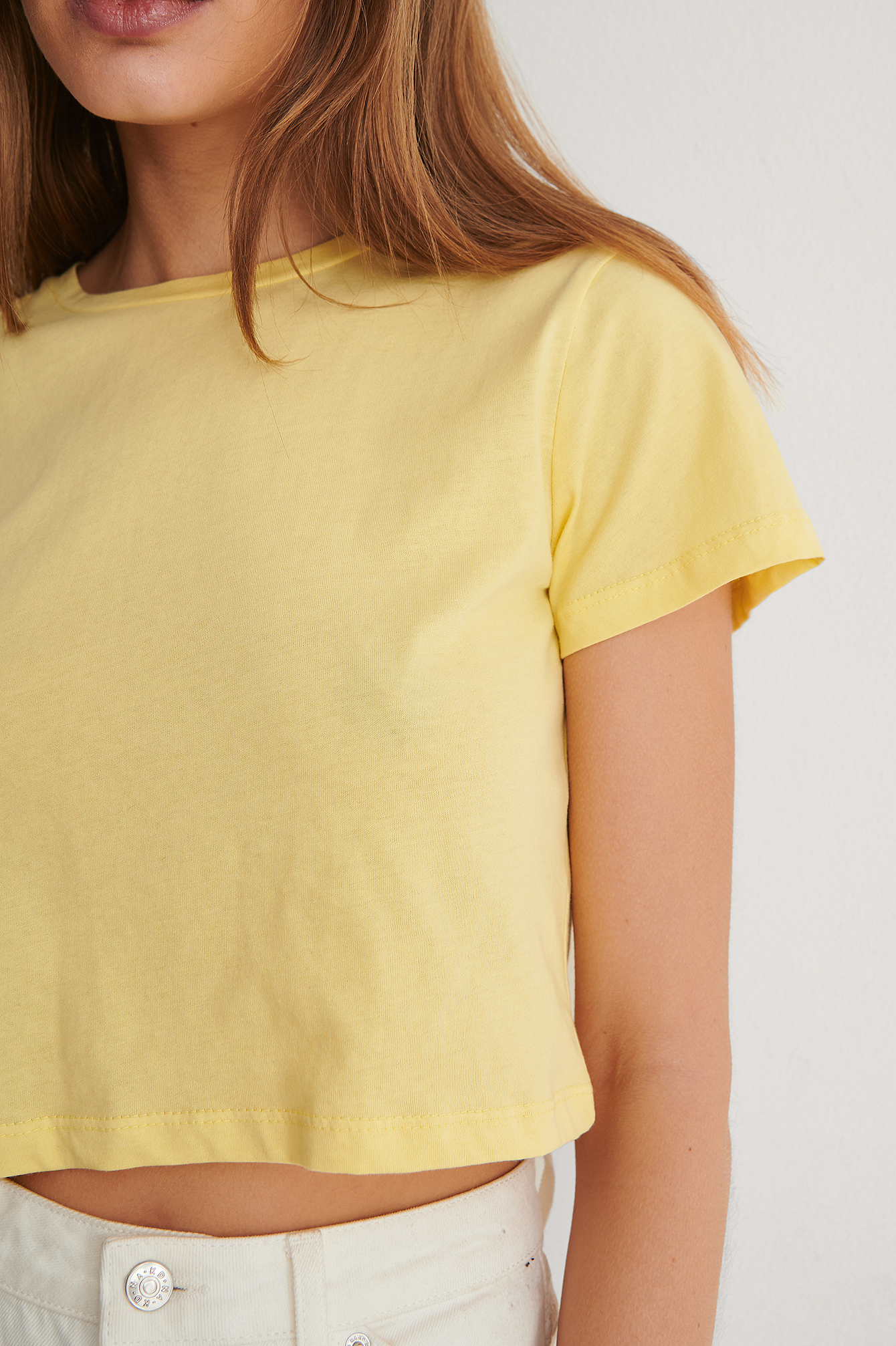 Yellow Cropped Basic T-Shirt