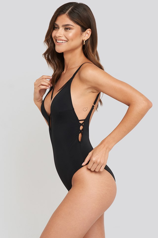 Cross Back Swimsuit Black