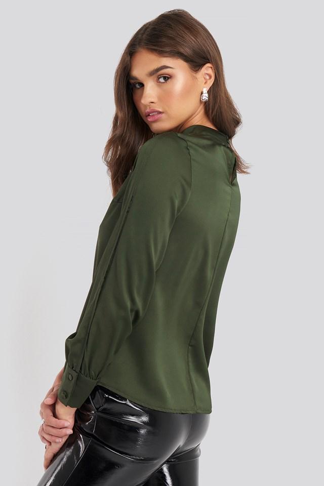 Cut Out Sleeve Blouse Khaki