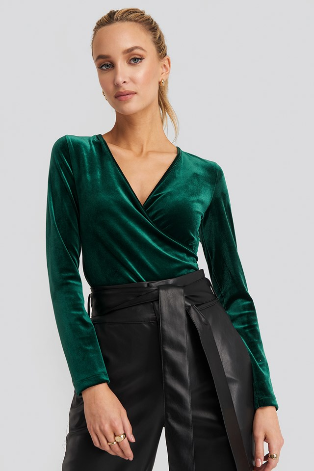 Double Breasted Collar Knitted Blouse Green