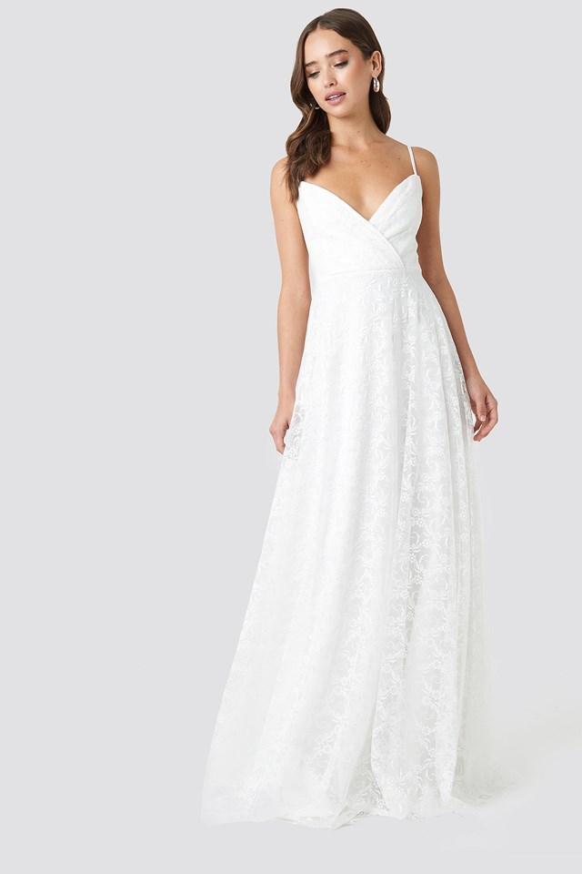 Double Breasted Neckline Evening Dress Ecru