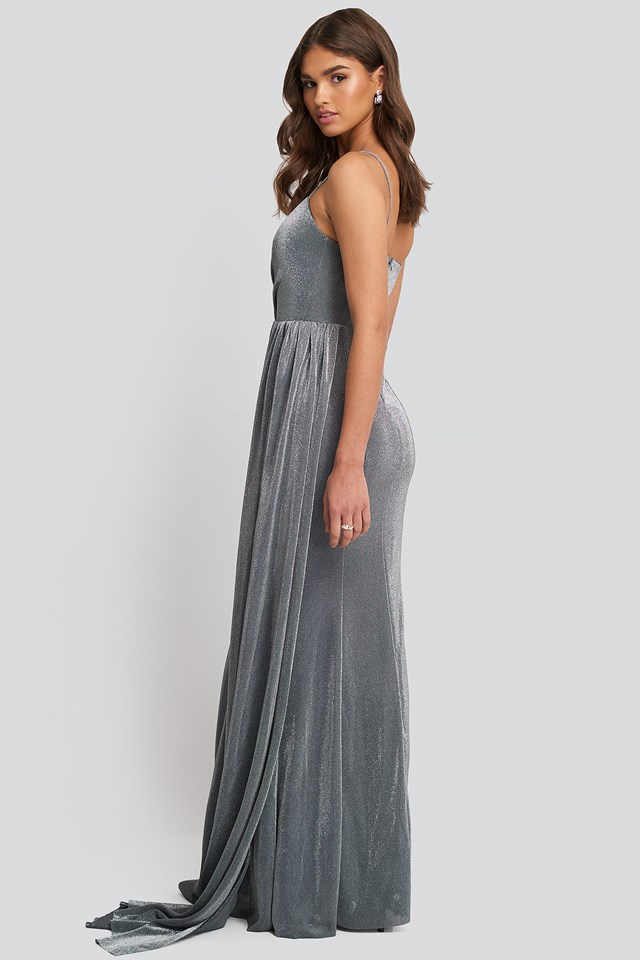 Silver Drape Detailed Evening Dress Silver