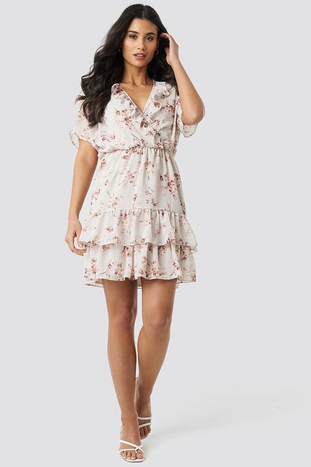 Floral Patterned Mini Dress Cream