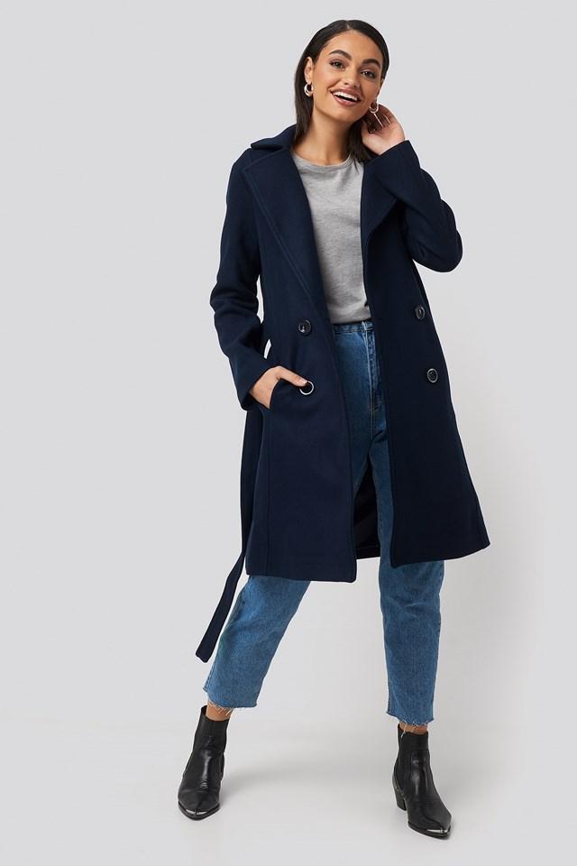 Front Buttoned Woolen Coat Navy