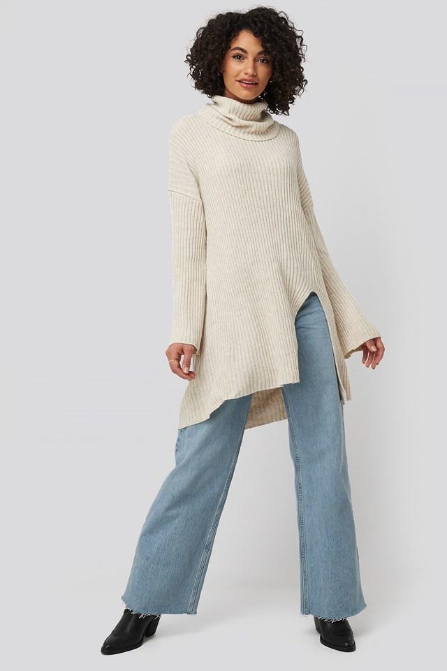 Front Slit Turtleneck Knitted Tunic Trendyol
