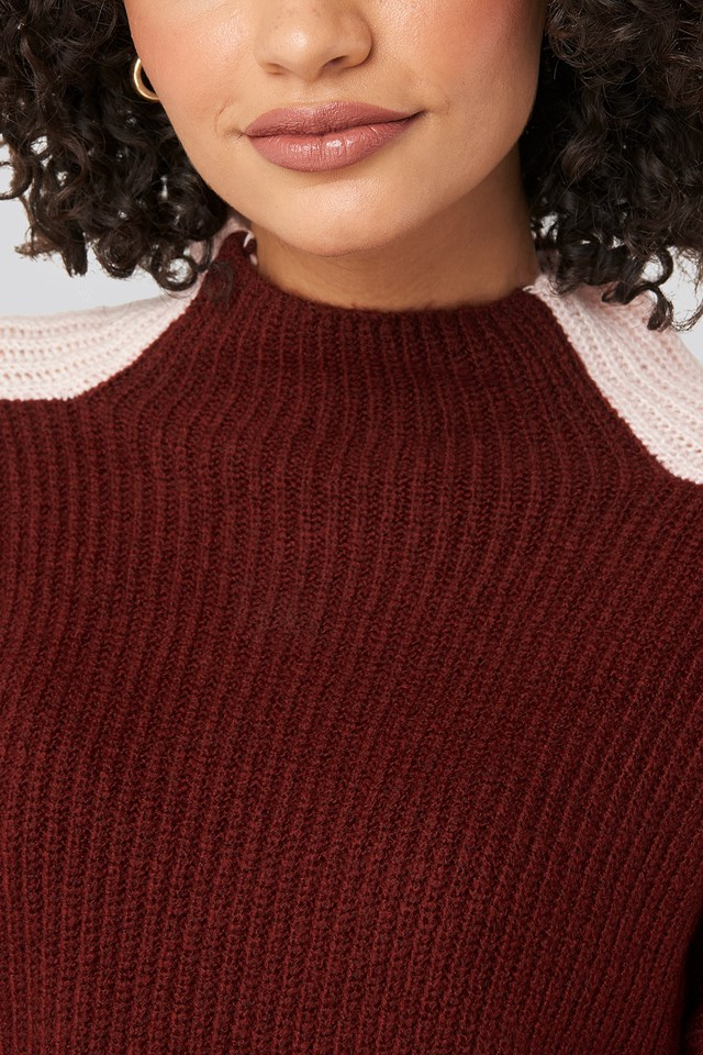 High Neck Color Block Knitted Sweater Burgundy