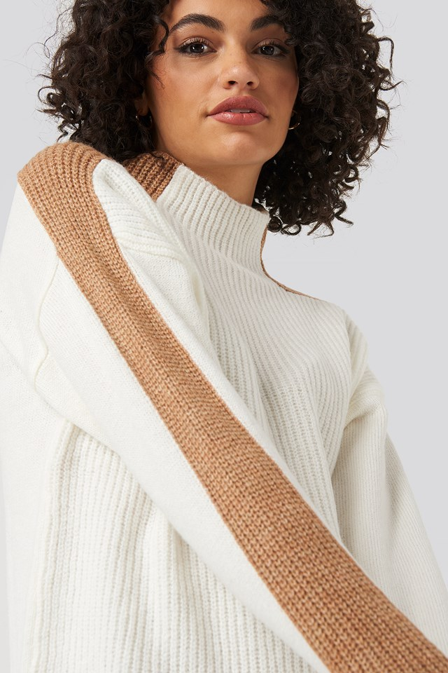 High Neck Color Block Knitted Sweater Ecru