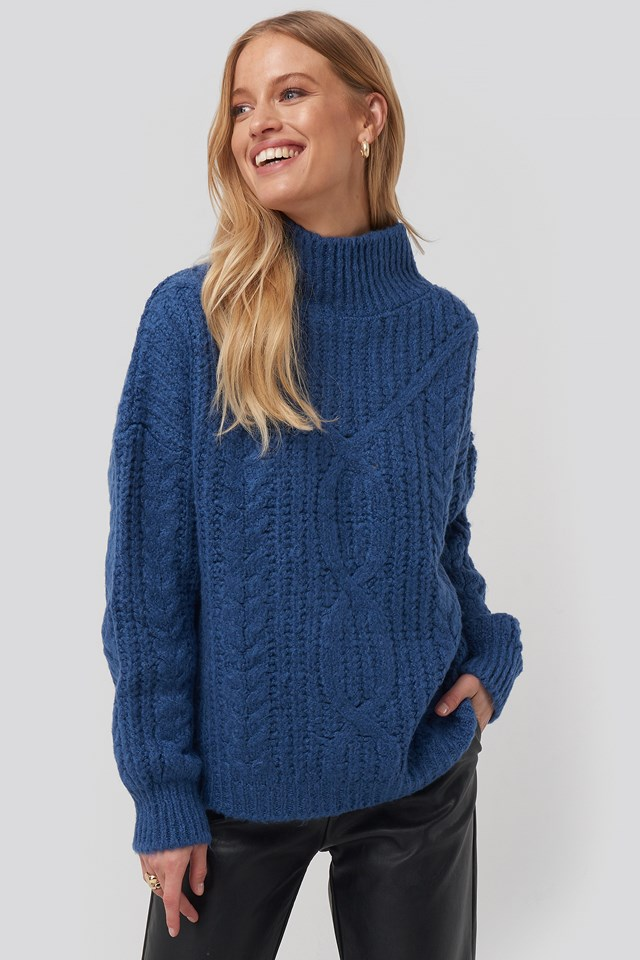 High Neck Knitted Sweater Navy