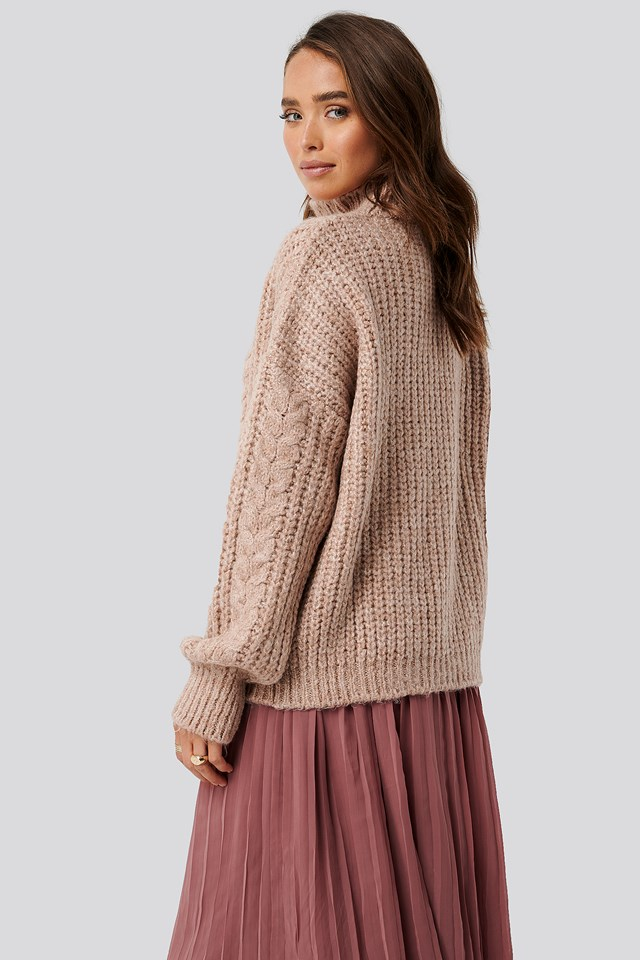 High Neck Knitted Sweater Powder Pink