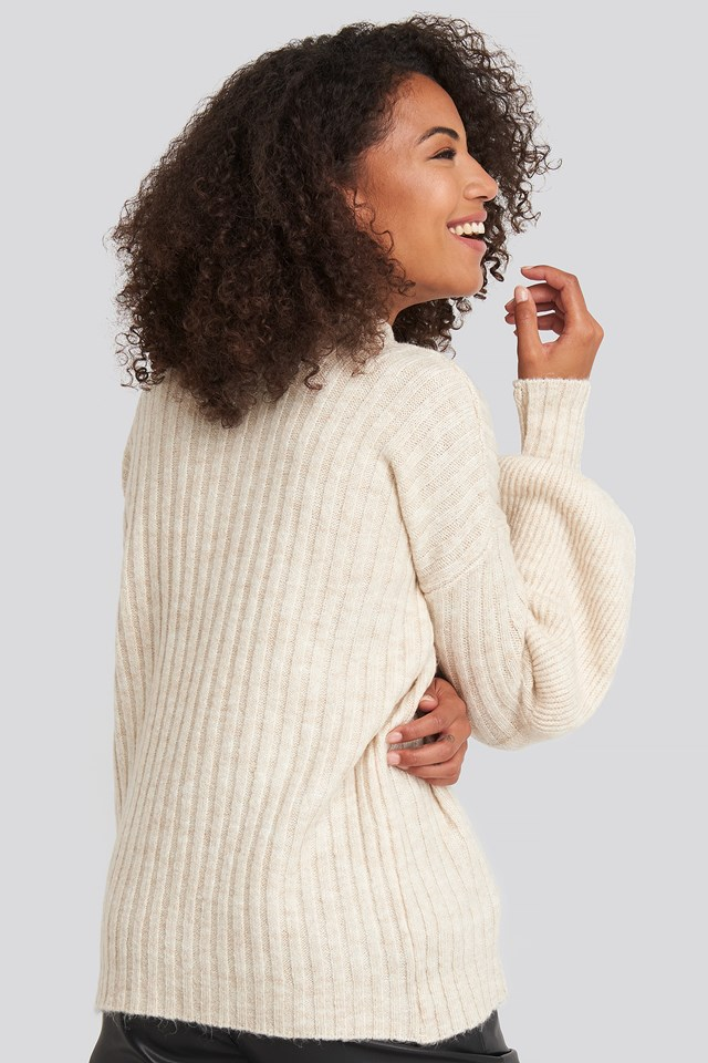 High Neck Puff Sleeve Knitted Sweater Beige