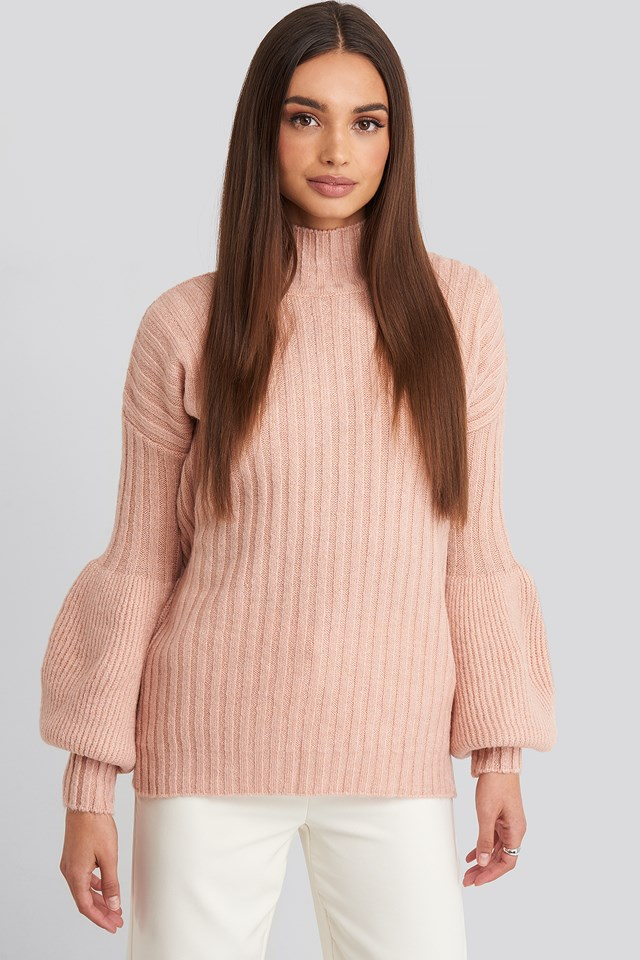 High Neck Puff Sleeve Knitted Sweater Dusty Rose