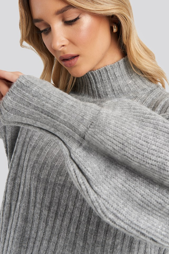 High Neck Puff Sleeve Knitted Sweater Gray