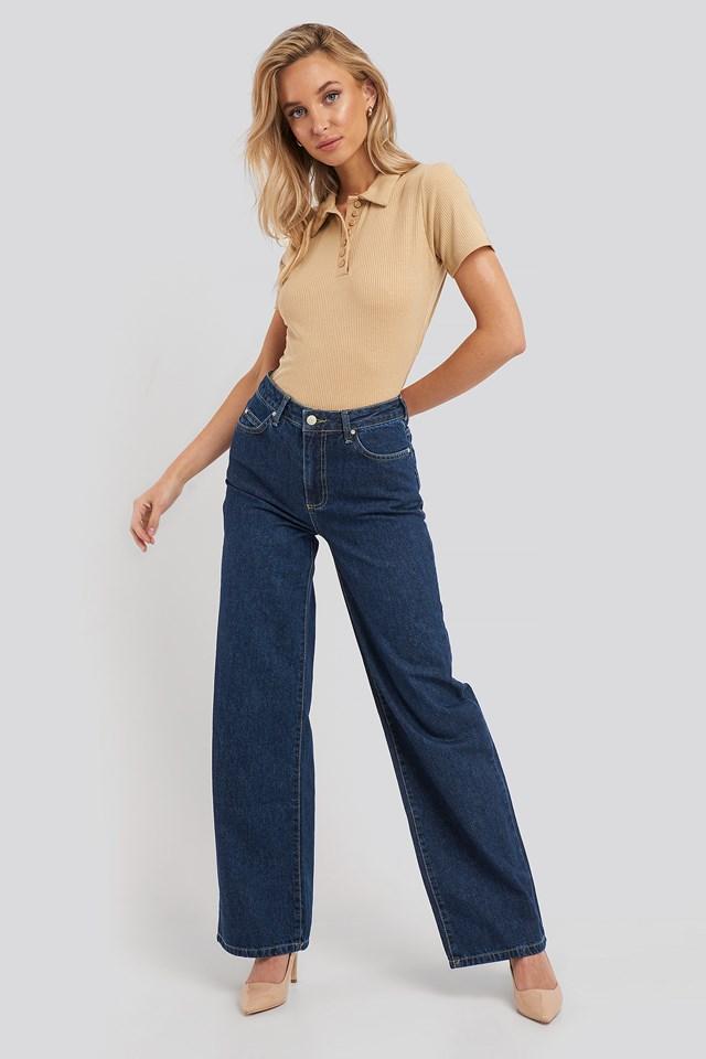 High Waist Wide Leg Jeans Blue