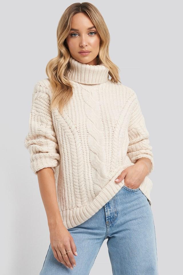 Knit Detail Turtleneck Sweater Ecru