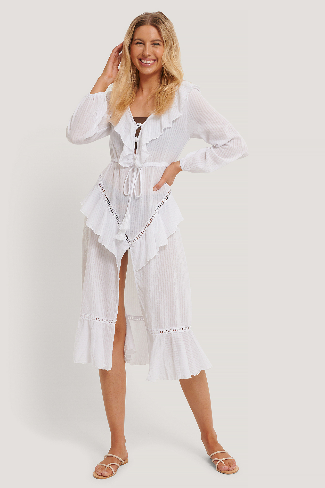 White Lacing Detail Voile Beach Dress