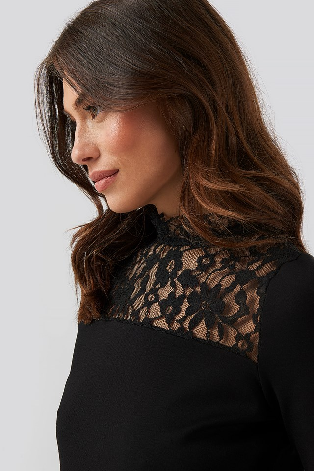 Lacy Knitted Blouse Black