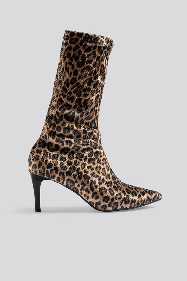Leopard Patterned Boots Brown
