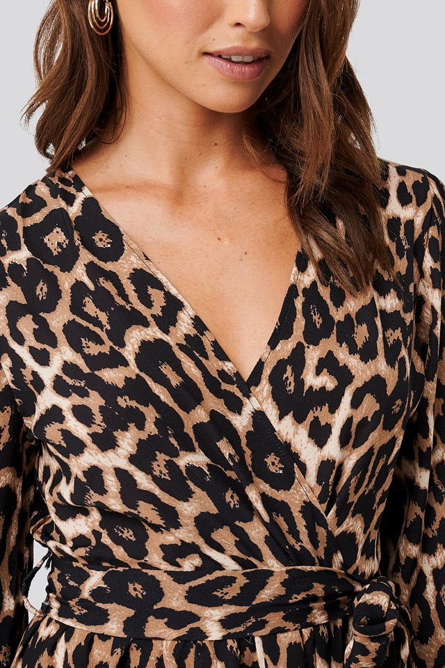 Leopard Printed Double Breasted Dress Brown
