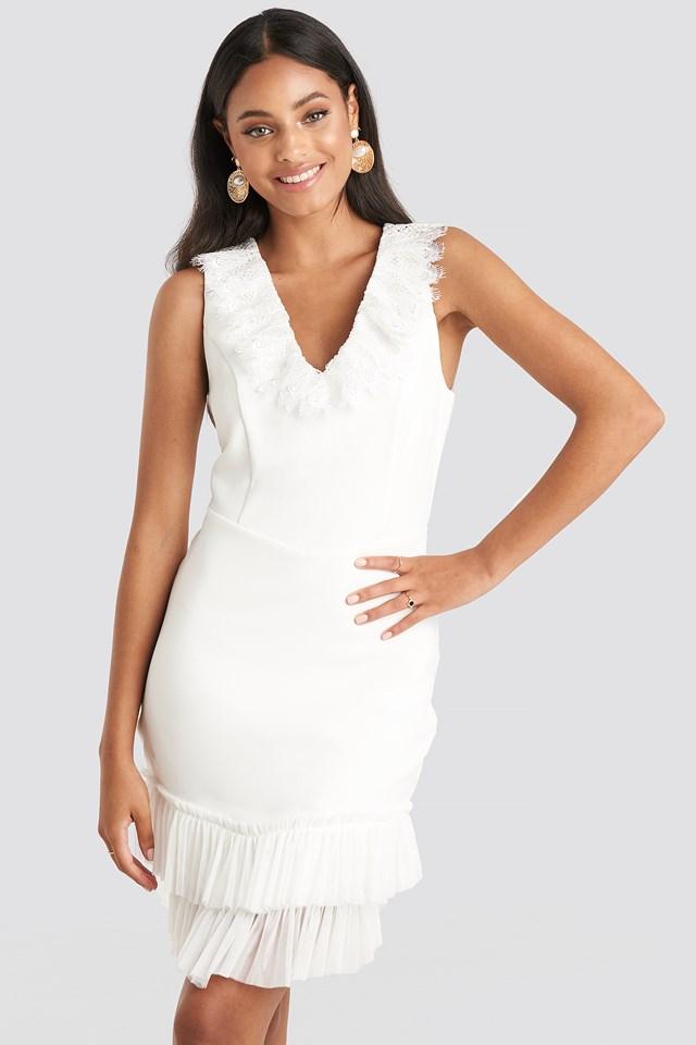 Milla Neck Detailed Dress Ecru