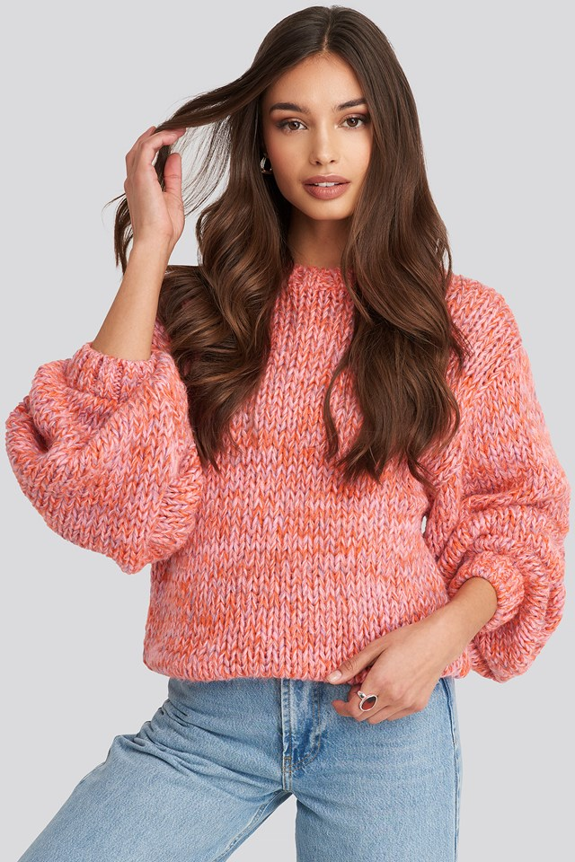 Multicolor Knitted Sweater Pink