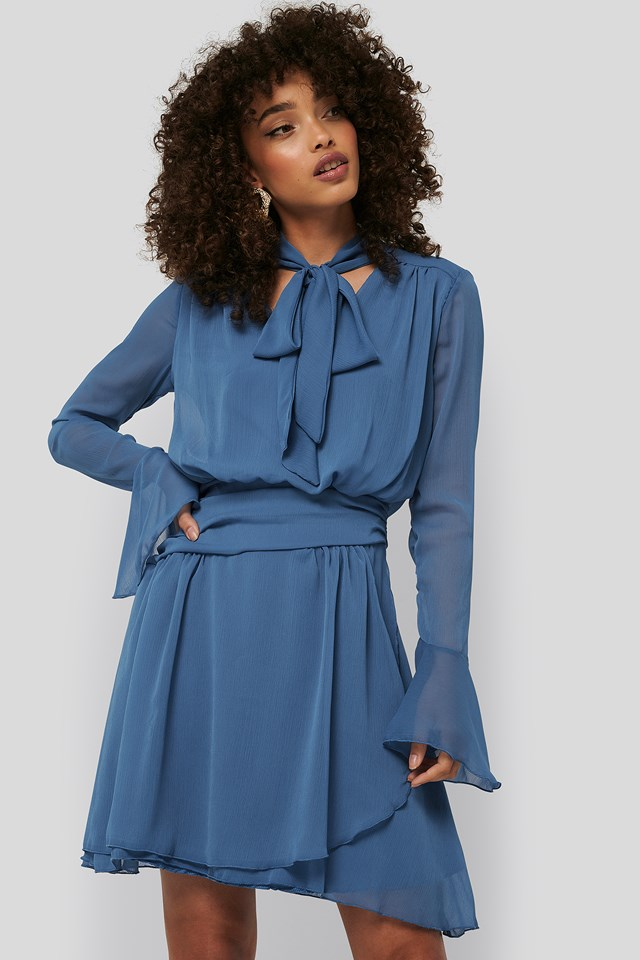 Neck Detailed Mini Dress Indigo
