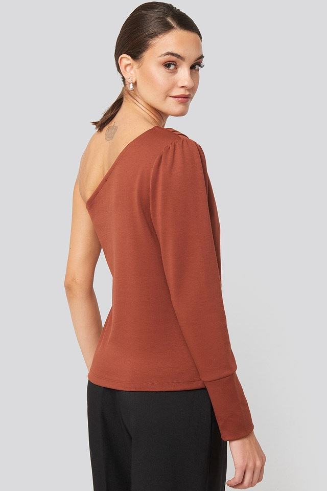 One Shoulder Long Sleeve Top Brick