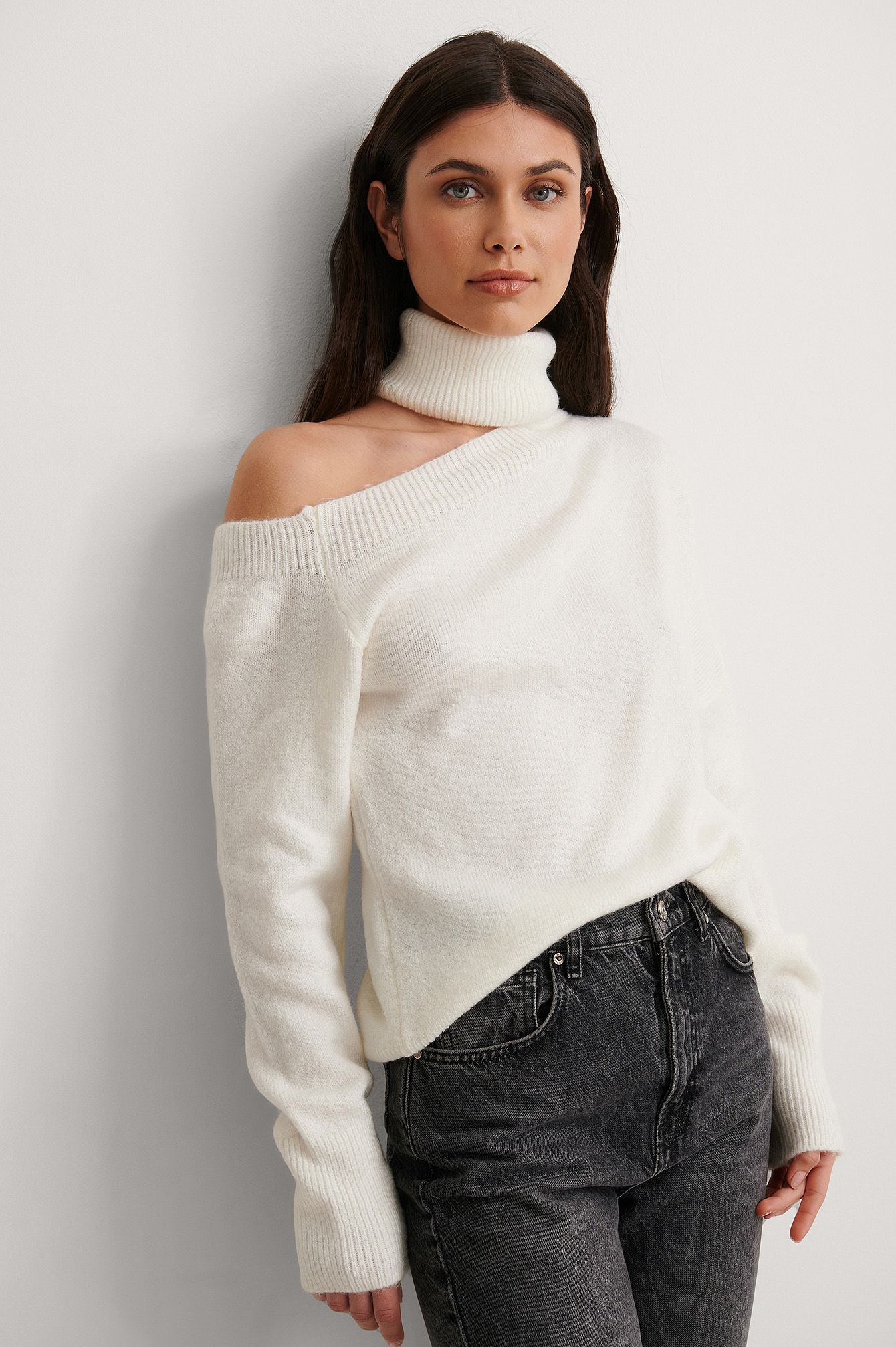 Ecru One Shoulder Turtleneck Knit Sweater