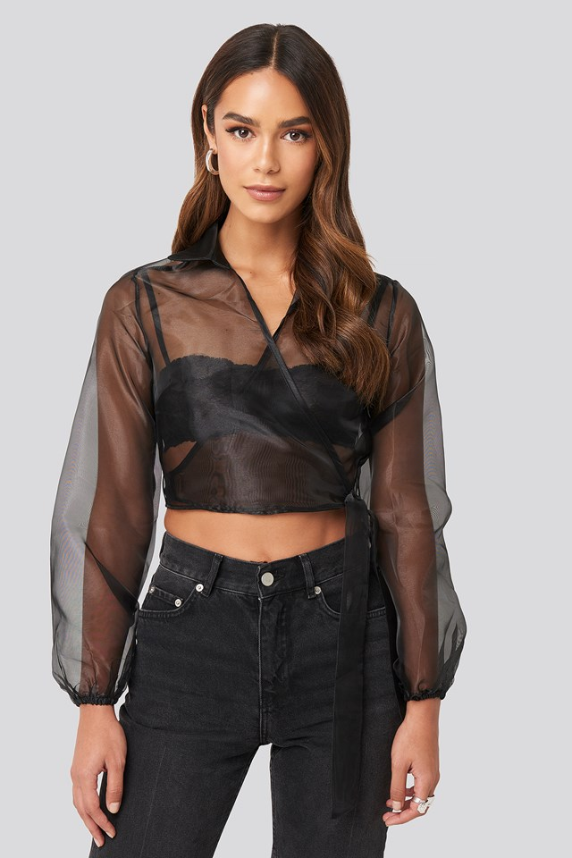 Organza Crop Top Black
