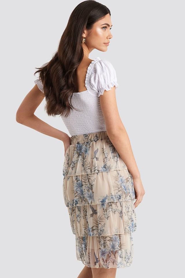 Patterned Midi Skirt Cream