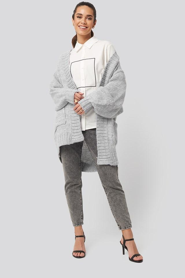 Pocket Detailed Cardigan Gray