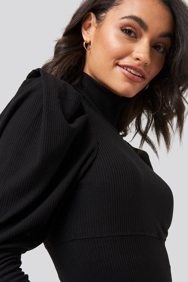Puff Sleeve Corded Knit Top Black