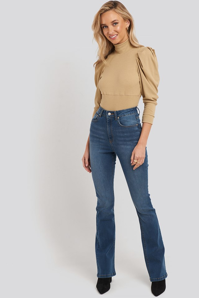 Puff Sleeve Corded Knit Top Camel