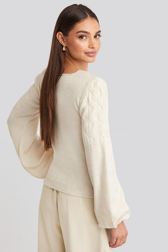 Puff Sleeve Wrap Knitted Sweater Ecru