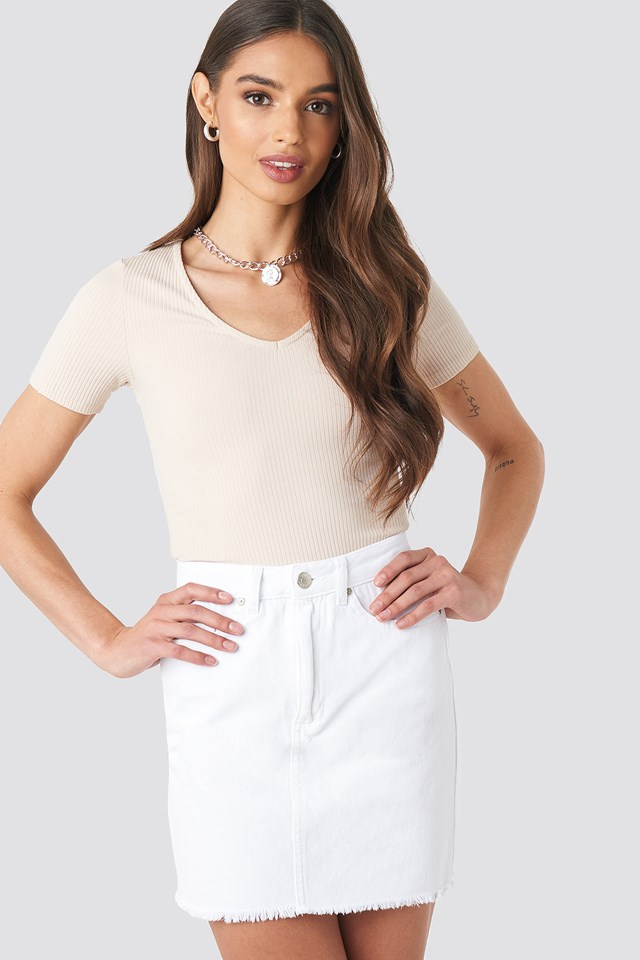 Raw Hem Denim Skirt White