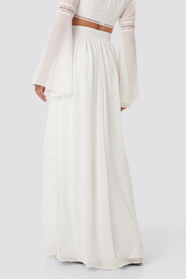 Ribbon Detailed Long Skirt Ecru