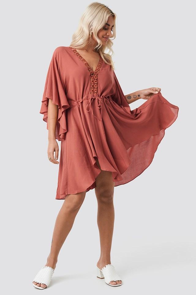Ribbon Lace Detailed Dress Cinnamon