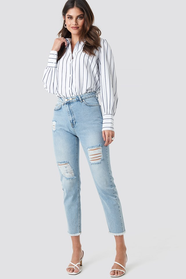 Ripped Detailed High Waist Mom Jeans Blue