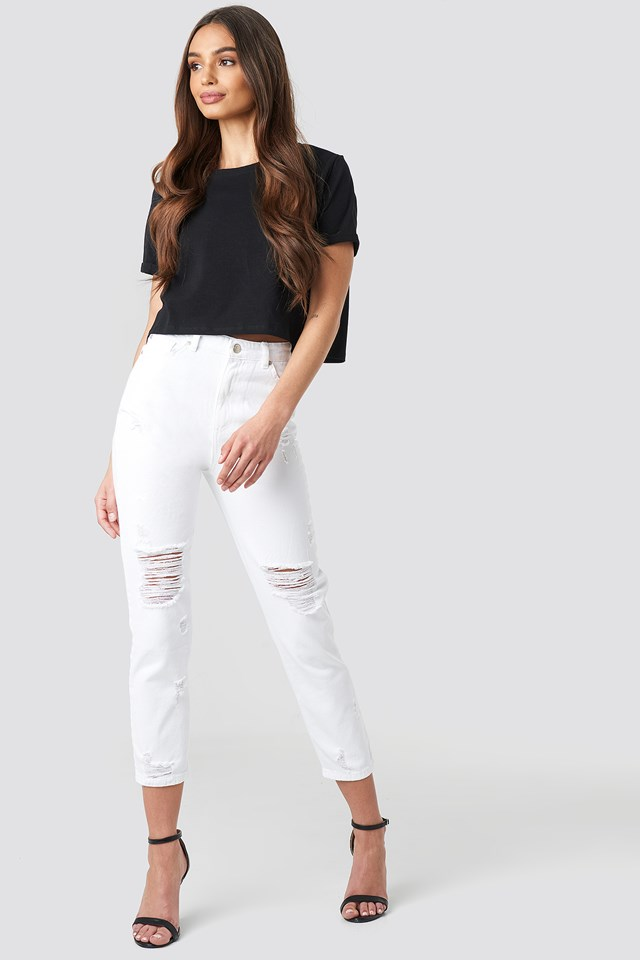 Ripped Knees High Waist Mom Jeans White