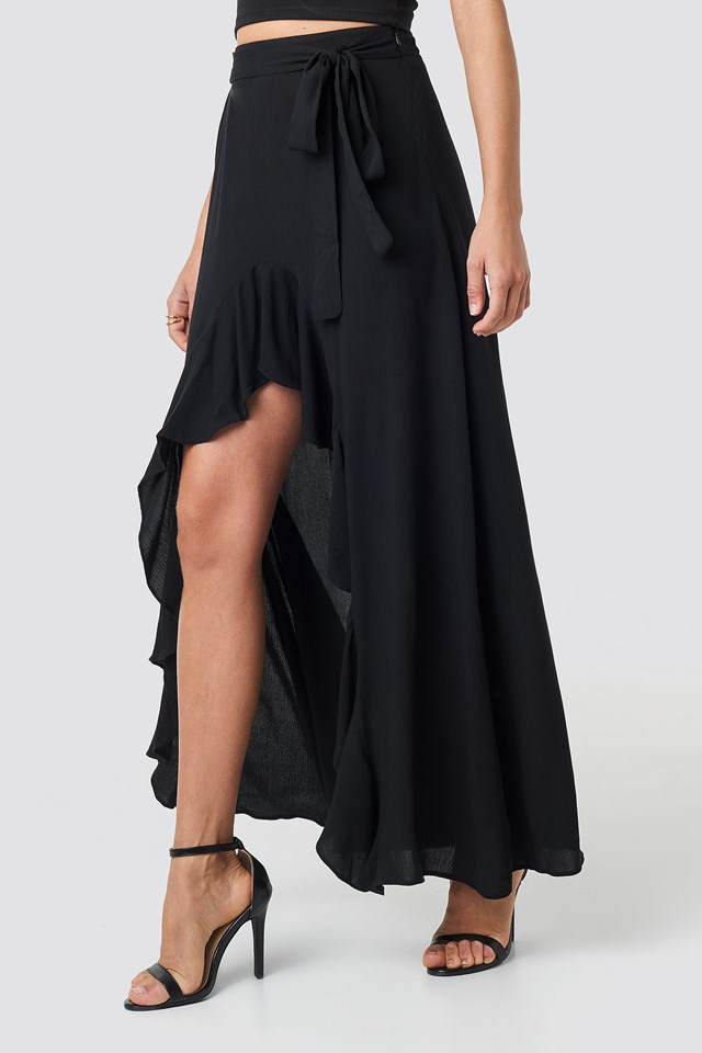 Ruffle Detail Maxi Skirt Black
