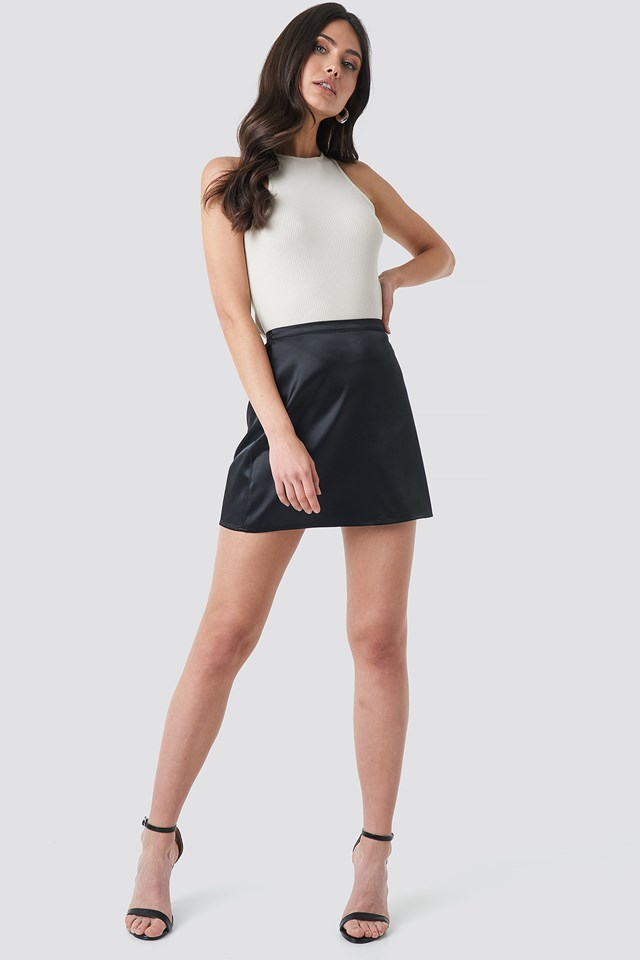 Satin Mini Skirt Deep Black