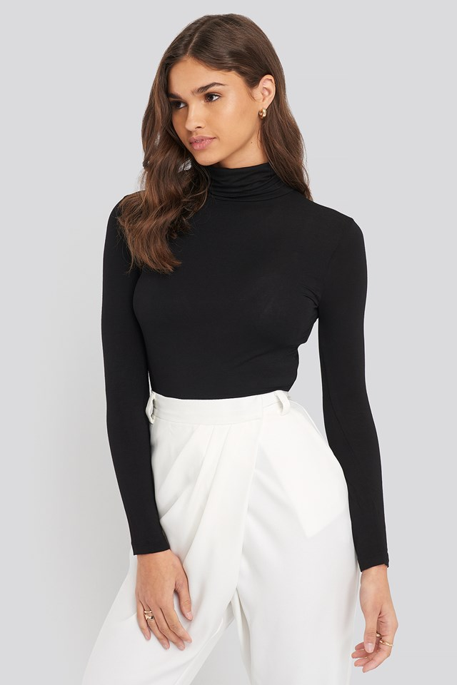 Sheer Turtleneck Top Black