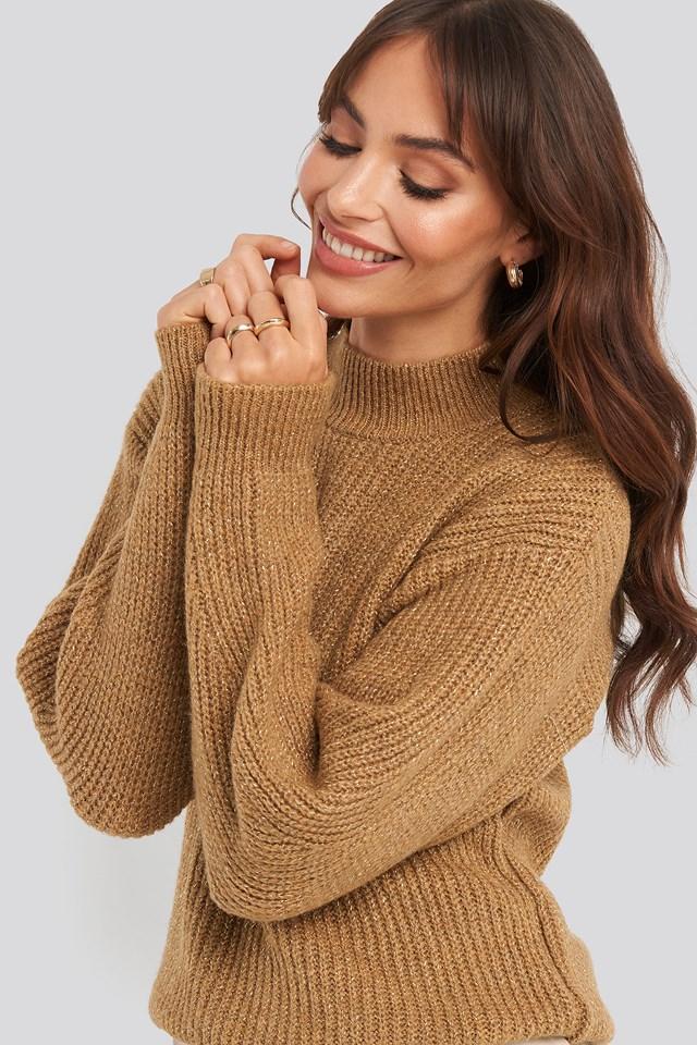 Silvery Knitted Sweater Trendyol