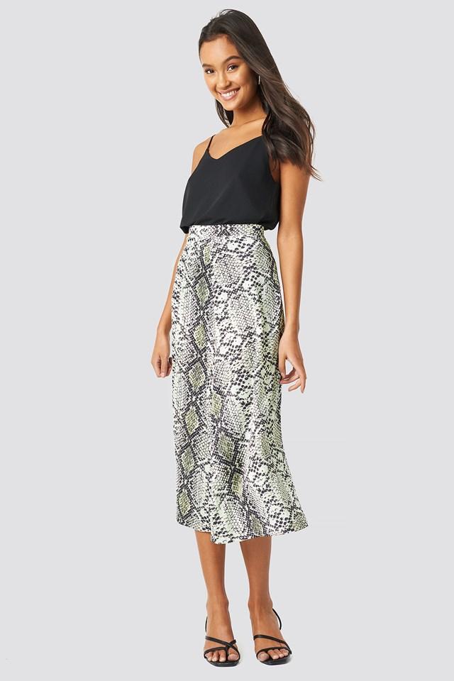 Snake Patterned Skirt Gray