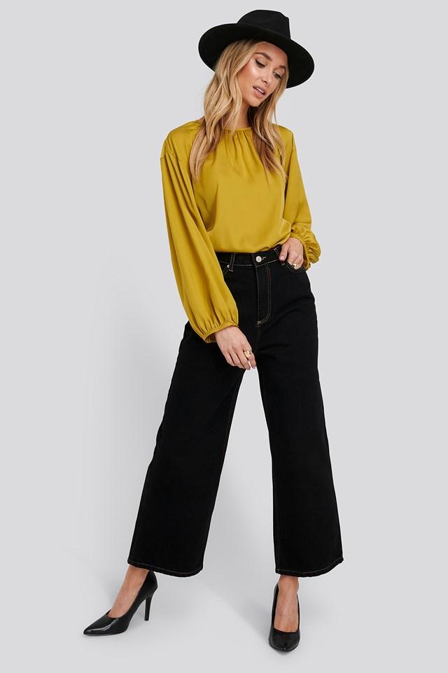 Stitching Detailed High Waist Wide Leg Jeans Black