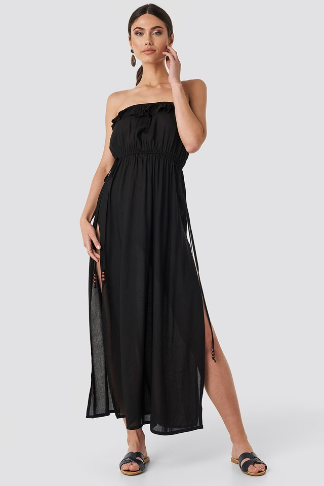 Strapless Frilly Viscose Beach Dress Black